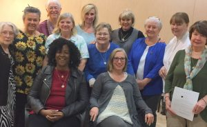 Seated: Liz Abrams, Carol Pawlowski  Standing: Nancy Lombardo, Michelle Mathas, Maureen McElroy, Peggy Devaney, Lorraine Kennedy, Mary Ann Schneider, Sharon Patrick, Mimi Palkovics, Irene King, Betty Cipollini Not pictured: Angel Conicelli